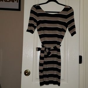 Banana Republic Beige and Black Striped Dress